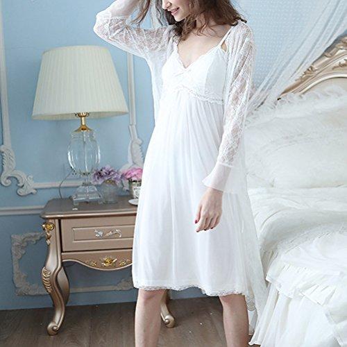 Zhuhaitf Gute Qualität Womens Breathable Soft Princess Sleep skirt Pyjama Nightwear Two pieces Set White
