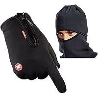 Go Pal Radfahren Handschuhe & Balaclava Hood, Wasserdichte Touchscreen Handschuhe, Gut für Winter Outdoor, einstellbare Größe, 3 Farbe