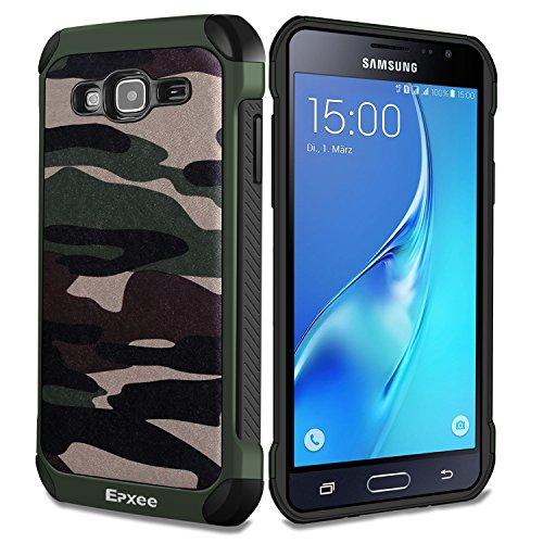 Epxee Galaxy J3 2016 Hülle, Silikon Handyhülle Samsung Galaxy J3 (2016) DUOS Schutzhülle Schwarz TPU Bumper Cover für Samsung J3 2016 Case - Camouflage