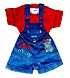 Miss U Baby Boy High Quality Soft Denim Dungaree Set With T-Shirt (RED, 0-6 Months)