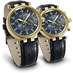 Juwelis Partner-Set JW7217GB-7218GB Hera-Zeus Chronographen Partneruhren mit Diamanten