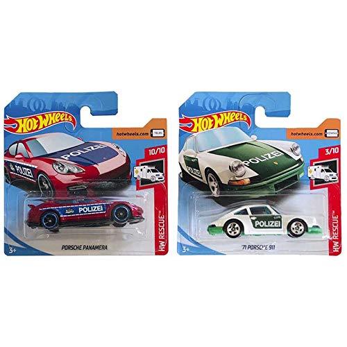 Hot Wheels Porsche Panamera & 71 Porsche 911 - Pack Polizei