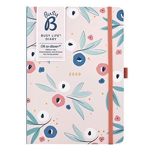 Agenda Busy Life 2020 Busy B - agenda A5 con motivo floreale, doppio programma e tasche