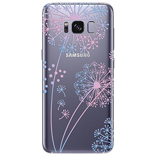 Yokata Samsung Galaxy S8 Hülle Transparent Weich Silikon TPU Case Handyhülle Schutzhülle Durchsichtig Clear Backcover Bumper mit Painted Muster - Löwenzahn