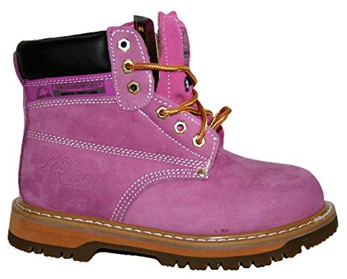 Ladies SK21Tomaia In Pelle Smart/Casual Con Lacci Stivali di sicurezza con puntale in acciaio Lilac