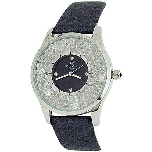 Oskar Emil Womens Silvertone Glass Set Dial Grey Genuine Leather Strap Watch