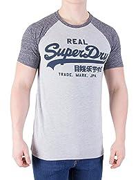 Superdry Vintage Logo Raglan Tee in Grey Marl