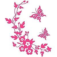 Chen Rui (TM) Etiquetas de Pared Inodoro Arte de Vinilo Papel Pintado Mariposa Flor Calcomanías de Baño Decoración (Rosa roja)