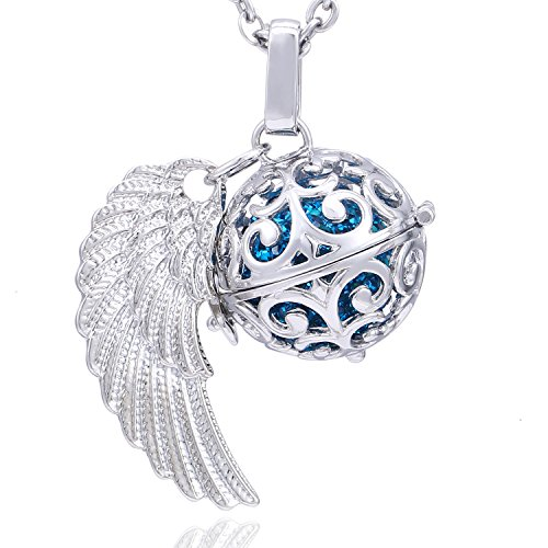 Morella Stainless Steel Guardian Angel Necklace 70 cm with Angel wings and Blue Resonance Ball Pendant Ø 16 mm for Ladies in Jewelry Bag