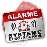 Abschreckungsaufkleber mit Alarm-Warnung, Sicherheitshalarm-Aufkleber, 6 x 8 cm, 12 Stück