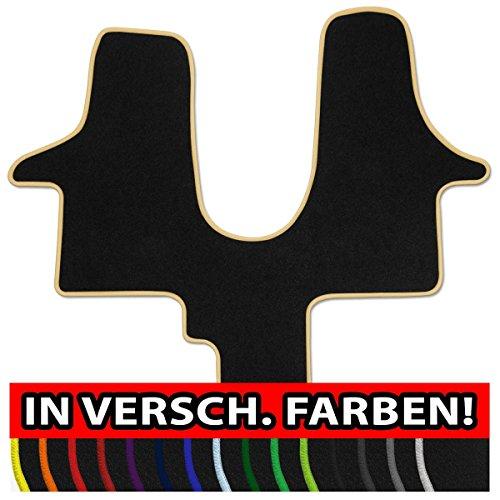 Preisvergleich Produktbild (Q100, Rand wählbar) Passgenaue Fußmatten aus NF-Velours mit Randfarbe in Mittelbeige (307) für Volkswagen VW T5 + T6 Trendline 1tlg. Bj. 2003-heute