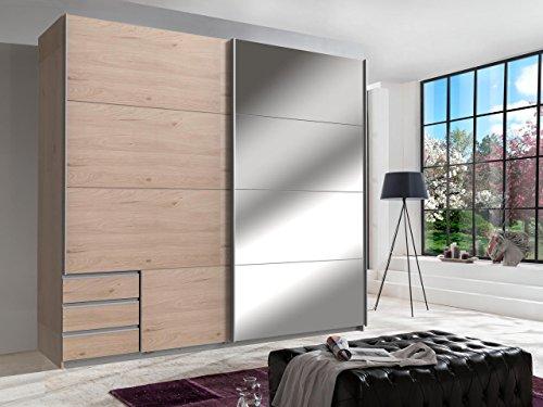 lifestyle4living Kleiderschrank, Schrank, Schwebetürenkleiderschrank, Schwebetürenschrank, Schlafzimmerschrank, Wäscheschrank, Hickory-Eiche NB, Spiegel - Hickory-schlafzimmer-möbel