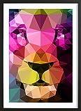 """JUNIQE® Bild mit Holzrahmen 20x30cm Löwen - Design """"Wild Neon 01a"""" (Format: Hoch) - Leinwand, Bilder auf Leinwand & Leinwanddrucke von unabhängigen Künstlern - Tierbilder - entworfen von Three Of The Possessed"""