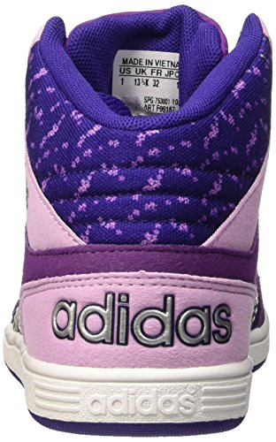 adidas Hoops Mid K, Chaussures pour le Basketball Garçon, Noir Violet / argenté (violet collégial / argent mat / violet tribal)