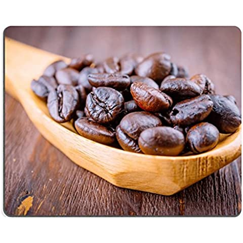 Liili Mouse Pad-Tappetino per Mouse in gomma naturale con immagine ID 33263026 chicchi di caffè in legno, cucchiaio in legno su sfondo stile vintage con immagini di effetto
