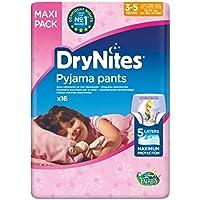 Huggies DryNites hochabsorbierende Nachtwindeln bei Bettnässen, für Mädchen 3-5 Jahre, 64 Stück