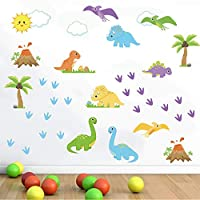 decalmile Dinosaur Wall Decals Kids Room Wall Decor Peel and Stick Wall Art Sticker for Nursery Baby Room Kids Bedroom Playroom