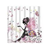 OUNONA Wasserdichte Duschvorhang Rosa Blume Mädchen mit Duschvorhangringe