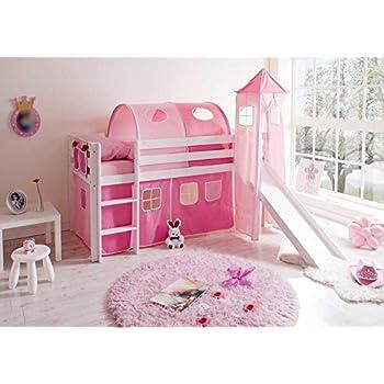 Pharao24 Mädchen Hochbett weiß rosa massiv Pinky: Amazon