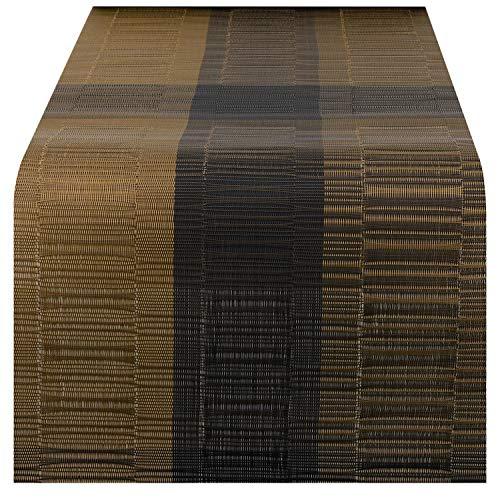 Nuovoware Camino de Mesa, 30 x 180 cm Premium Exquisite Tejido Resistente al Calor Antideslizante Textilene Decoración de Corredor de Mesa para cocina y comedor, Bambú Café
