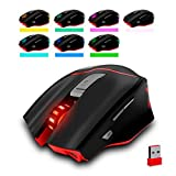 Wokee ZELOTES F-18 Dual-Modus Gaming Maus, [Neue Version] Game Maus 3200DPI PC Gaming Maus Hohe Präzision für Pro Gamer mit LED-Licht 7 Farbwechsel/Wired / Wireless Einstellbar DPI