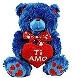 GH Peluche Orso Blu Piccolo con Cuore Ti Amo 25 cm San Valentino Pupazzo Orsetto Orsacchiotto per Lui per Lei