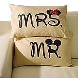 Miya® Mr & Mrs Micky und Minni liebevolle hochwertige Hochzeit Paar Kissenbezüge aus Baumwoll Sofakissen Kissenbezug Hochzeitgeschenk (Micky3050)