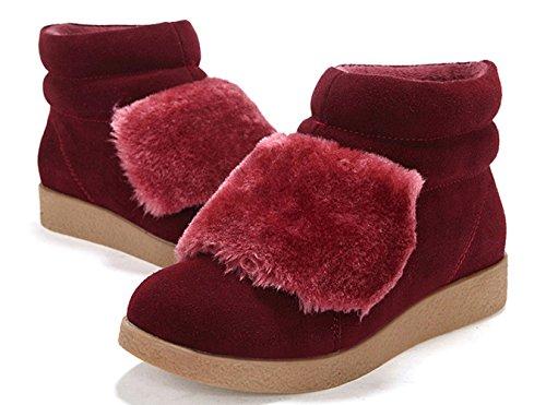 Damen Stiefeletten Mattleder Slip-on Flache Warme Winterstiefeln Rot