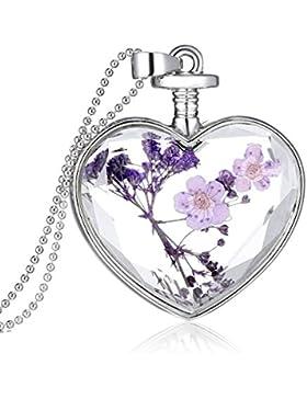 Souarts Damen Silber Farbe Getrocknete Lila Blumen Herz Ketten Halskette mit Anhänger 60cm