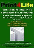 5 Blatt DIN A3 Selbstklebend klar transparent glänzende Folie für Schwarzweiss-Kopierer sowie SW-Laserdrucker für Innen und Außenbereiche