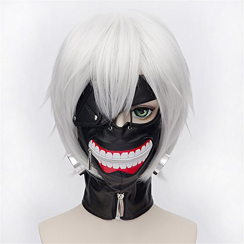 �cke Tokyo Ghoul Ken Silver White Perücke Corta Styled Frauen Cosplay Party Fashion Anime Human Costume Full wigs Synthetic Haar Heat Resistant Fiber (Tokyo Halloween-festival)