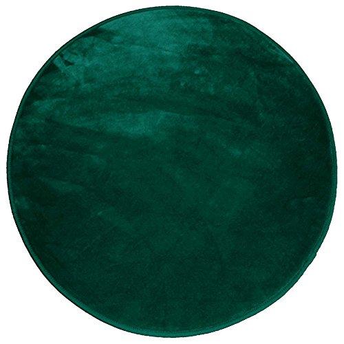 Douceur d'Intérieur Alfombra Redondo (0) 90cm Terciopelo Uni Louna Verde