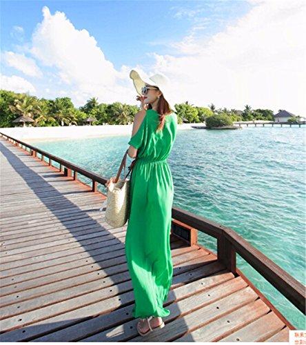 QIYUN.Z Donne Nuovo Il Manicotto Mezzo Chiffon Scollo Tondo Vestito Lunga Spiaggia Tunica Di Colore Solido Verde