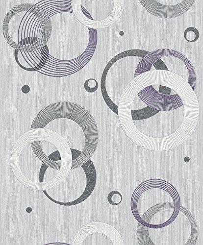 Rasch 2015 Plaisir - Papel pintado (fieltro), estilo retro, color mora
