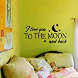 "Vinilo El Amor Romántico Vinilo Quote I love you to the Moon y pared posterior amor decoración murales gráfico casa decoración de arte, vinilo, Blanco, 13""x22"""