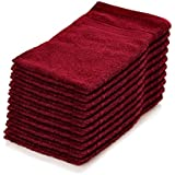 Lumaland Premium Set 10 toallas felpa 30 x 30 hechas de 100% algodón 500 g / m² con cinta para colgar rojo