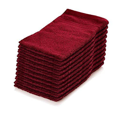 Lumaland Premium 10er Set Seiftücher Waschlappen Gästehandtücher Frottee 30 x 30 aus 100% Baumwolle 500 g/m² mit Aufhänger kirsch