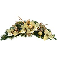 WeRChristmas Pre-Lit Decorated Arch Garland Illuminated with 20 Warm White LED Lights, 90 cm - Cream/Gold