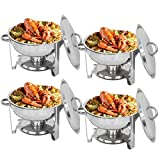 Zenchef Deluxe 5 Qt Stainless Steel Round Chafer Full Size Chafer Chafing Dish W/Water Pan Food Pan Lid Frame and Alcohol Furnace (Pack of 4)