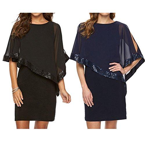 Kleider Damen Paillettenkleid Glitzer Bolero Knie Lang Abendkleid O Ausschnitt Patchwork Arbeit Büro Party Kleid Casual Elegant Juleya - 2