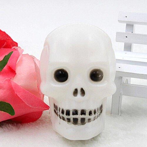 MMRM Halloween Décoration LED Crâne Tête Jouet Éclair Couleur Aléatoire 1pc
