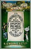 Blechschild Nostalgieschild AWL Pork Meal Dundalk Schweinefutter Schild retro Werbeschild