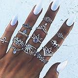 Yean - Juego de anillos vintage con diseño de elefante y hojas de cristal y pirámide para las mujeres y las niñas