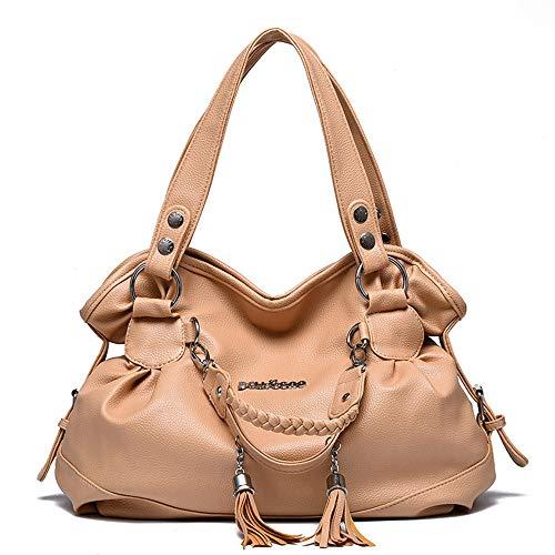 AlwaySky Damen Top-Griff Handtaschen, Super Soft Leder Schultertasche mit Quaste Klassische Freizeit Tote für Damen Damen Aprikose -