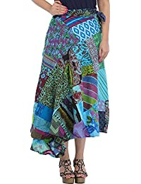 Exotic India Wrap-Around Long Skirt With Printed Patch-work - Color Batton BlueGarment Size Free Size