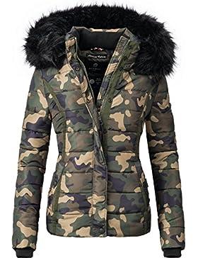 Navahoo Miamor Chaqueta de invierno para mujer, piel sintética, acolchada, con capucha, para mujer