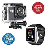 #9: Piqancy Sports Action Camera Ultra HD DV Camcorder 12MP 170 Degree Wide Angle With A1 Bluetooth Smart Watch Support SIM Card and TF Card with Camera Compatible with Xiaomi, Lenovo, Apple, Samsung, Sony, Oppo, Gionee, Vivo Smartphones