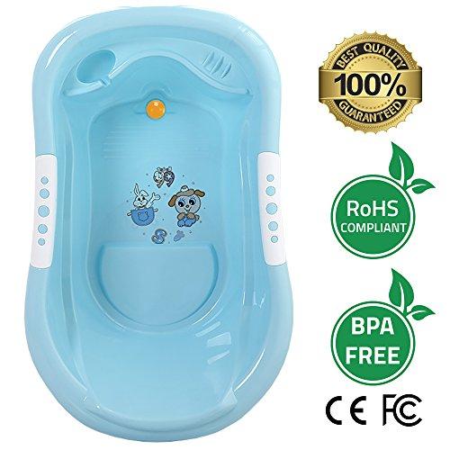 Baby Badewanne Umweltfreundlich BPA-frei Lebensmittelechtes Material Body Engineered komfortabel und sicher Rückseite - Baby Badewanne Unterstützung