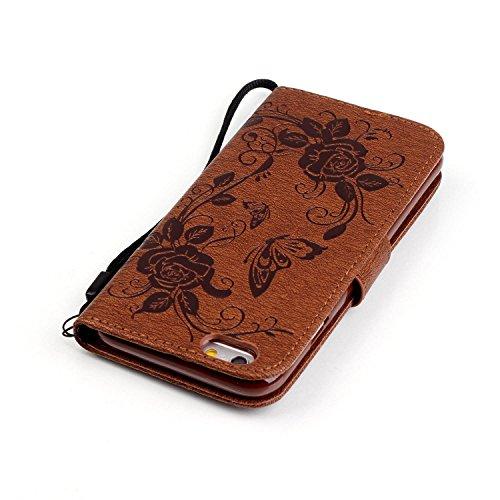 """MOONCASE iPhone 6S Coque, Papillon Fleur Portefeuille Porte-cartes Housse en Cuir Etui à rabat Case avec Béquille pour iPhone 6 / 6S 4.7"""" Bleu Brun & Bling"""