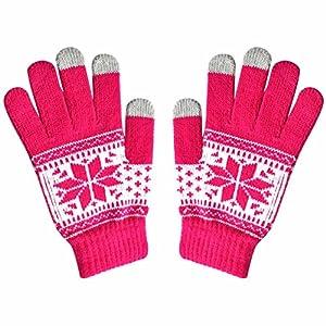 TUDUZ Damen Frauen Thermo Strick-Handschuhe Winter Texting Cap Aktive Smartphone Stricken Weichen Bildschirm Handschuhe